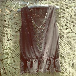 Frederick's sequin sheer gray peplum top, size L